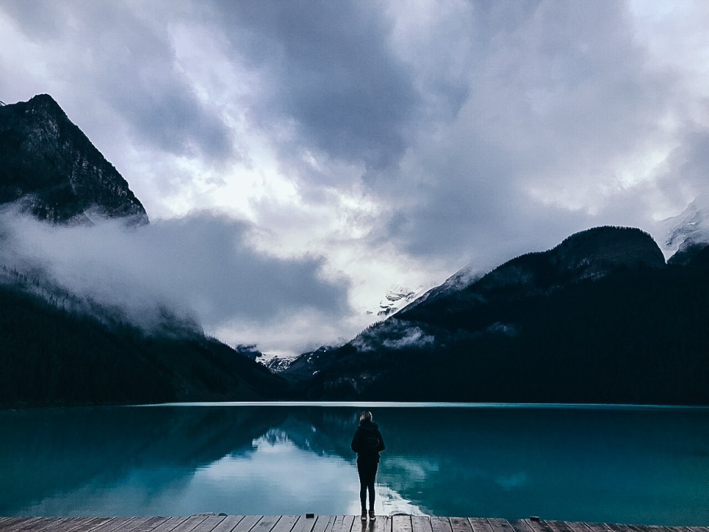 Lake Louise Torquoise Blue Water and Mountains Banff National Park Canada