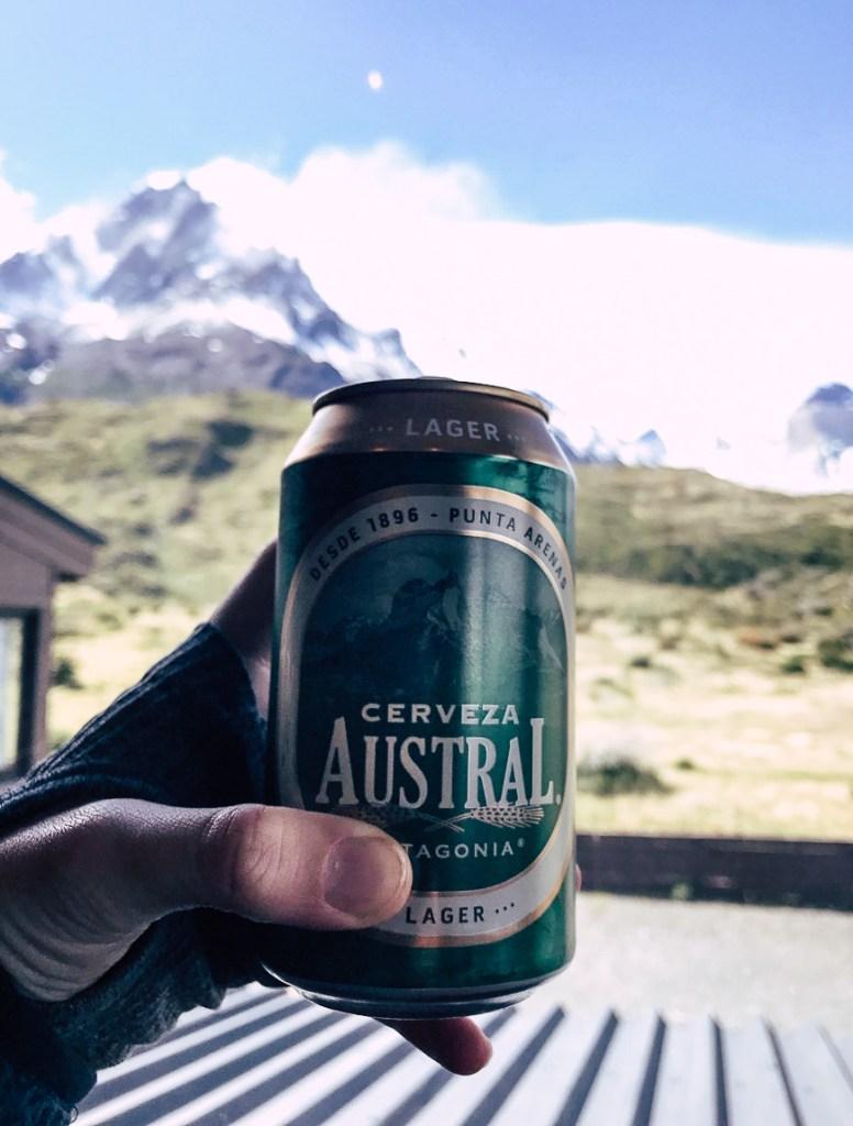 Austrel Cervezas with mountain backdrop