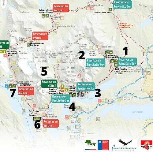 W Trek Map with Refugios and Campsites, W Trek Torres Del Paine Map