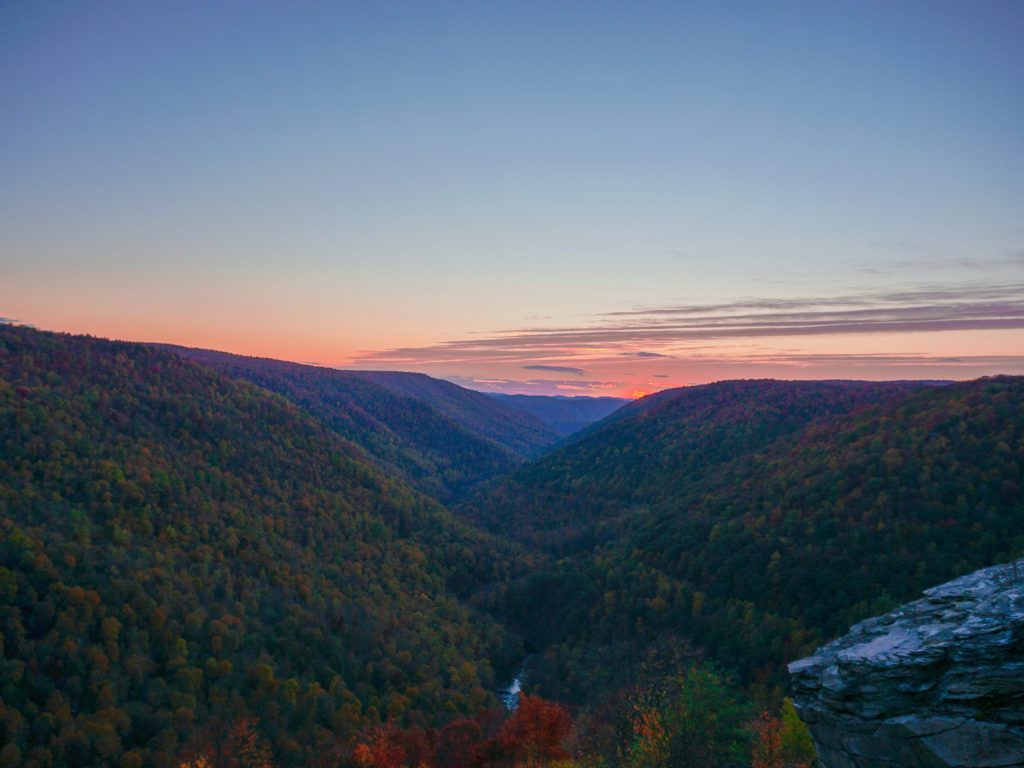 Sunset at raven's rock coopers rock wv