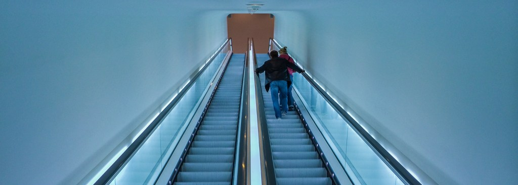 Picture of escalator at the Stedelijk Museum.
