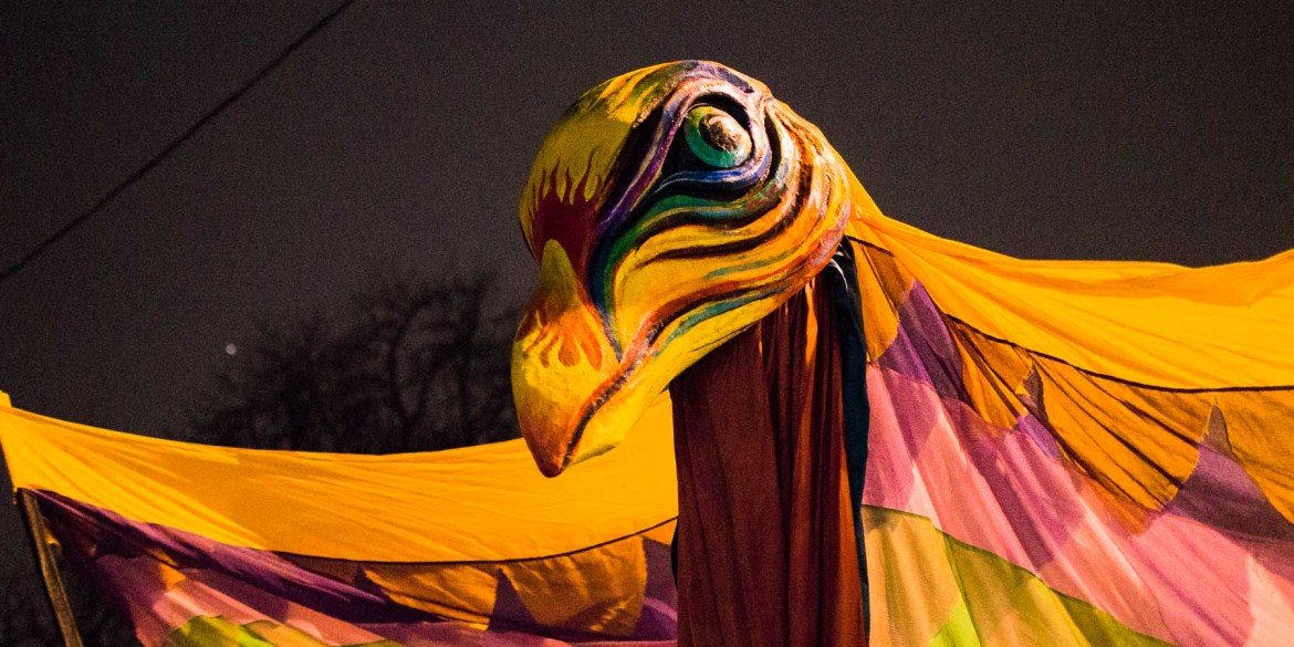 A big colourful raven in the Toronto Winter Solstice parade.