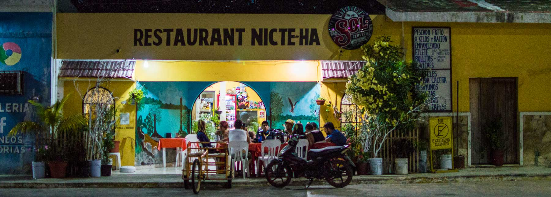 Late night restaurant in Celestún on our Mexican Road Trip.