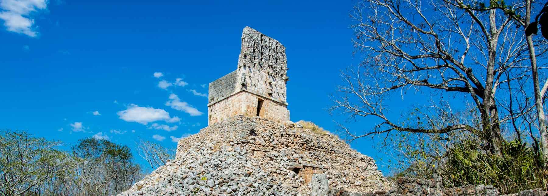 Mayan ruins of El Mirador temple at Sayil.