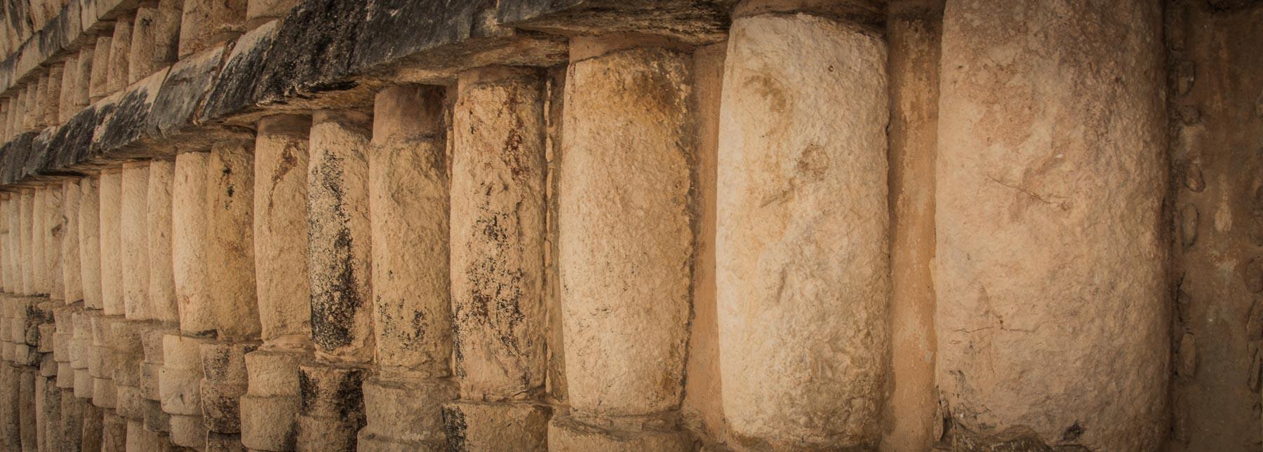 A row of columns on an Uxmal temple.