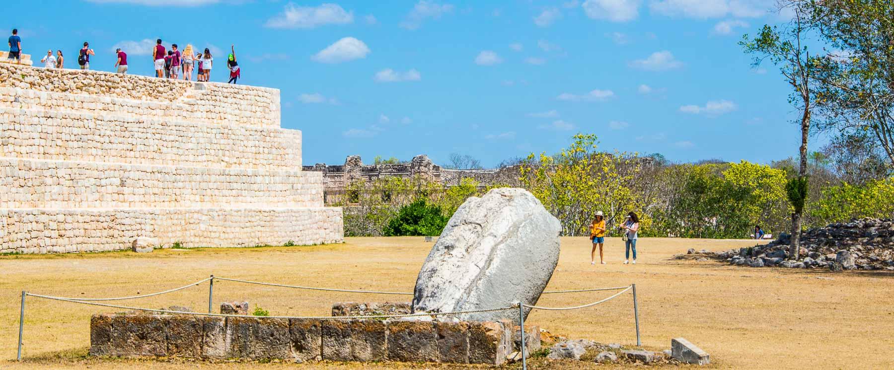 At Mayan ruins of Uxmal, a flogging stone or phallic symbol.