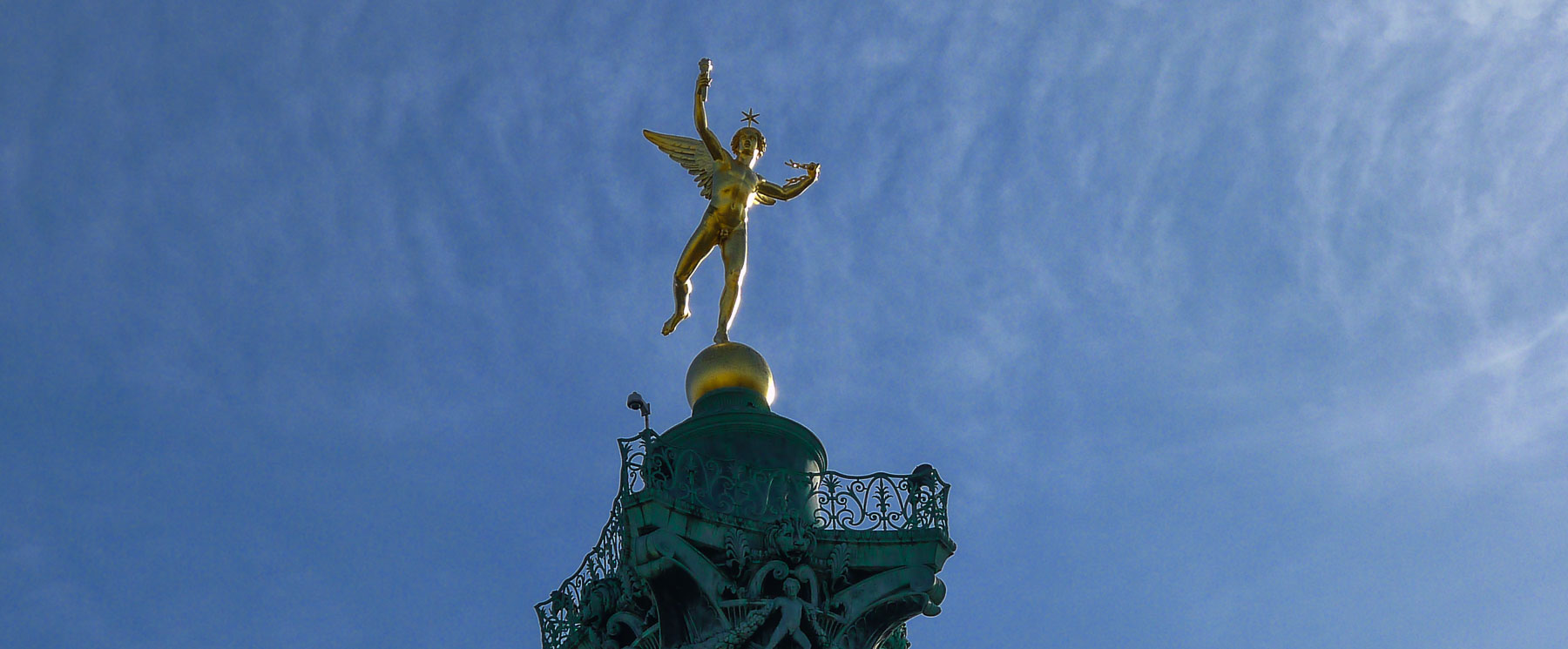 Spirit of Freedom on top of column in Place de la Bastille, one of the thriving Paris arrondissements.