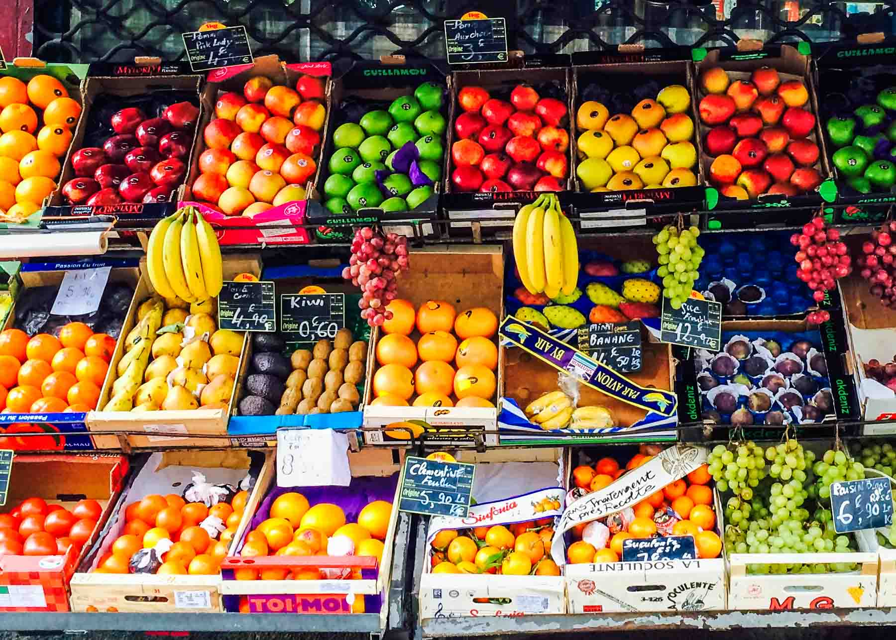 Display of fruit in a market.