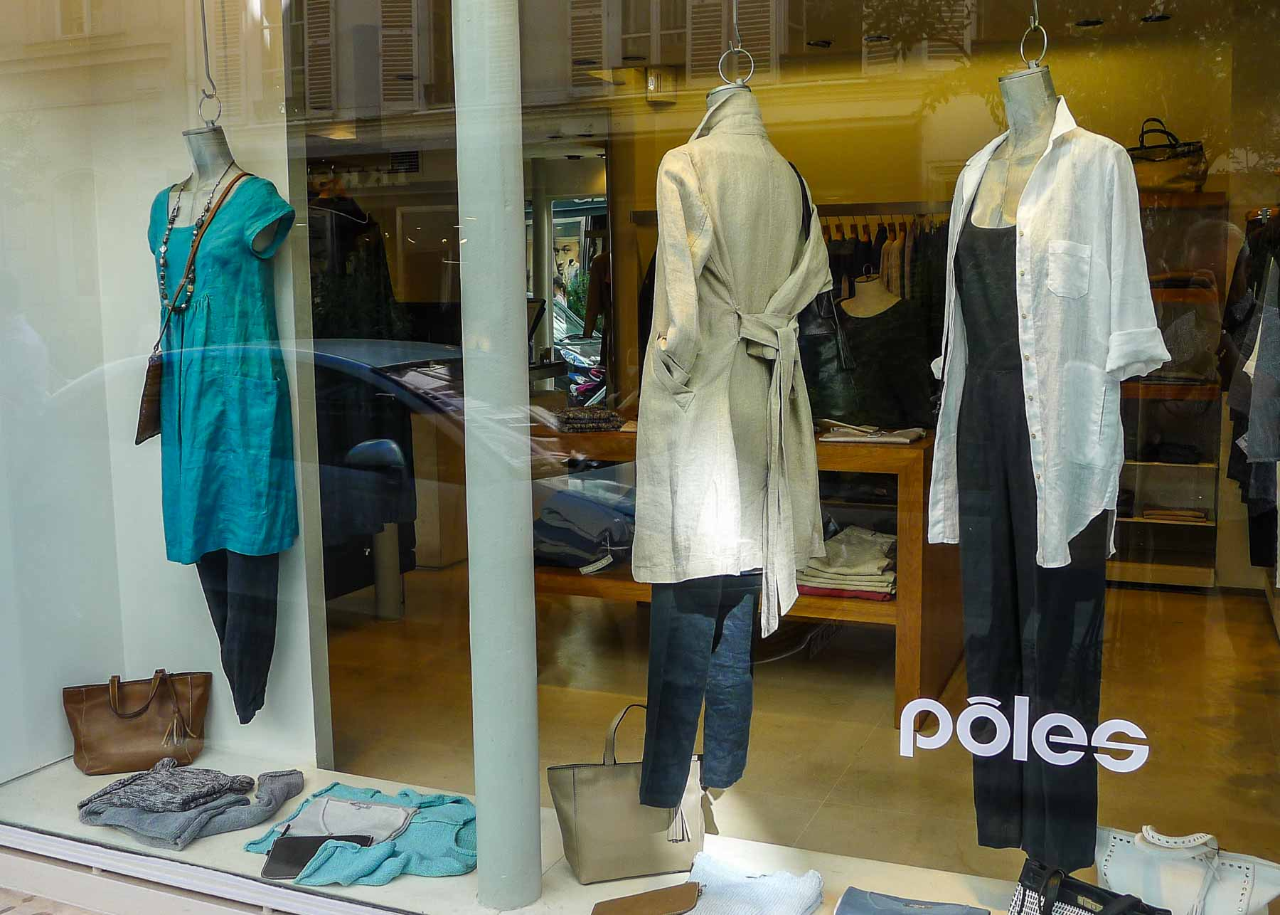 Windows of a women's clothing store in Paris.