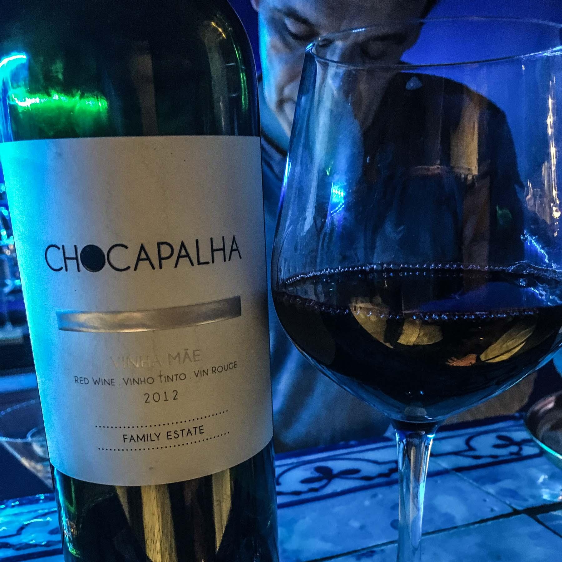 Bottle of red wine in a Lisbon bar.