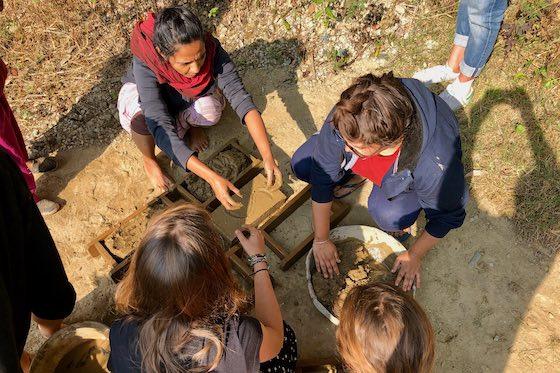Making adobe bricks