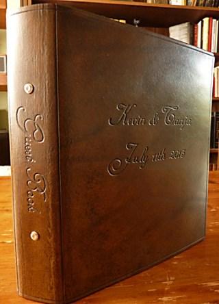 Earthworks Journals Brown Leather Personalised Ring Binder as Wedding Guestbook