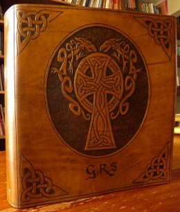 Earthworks Journals Leather Binder with Celtic Knot and Dragon Design