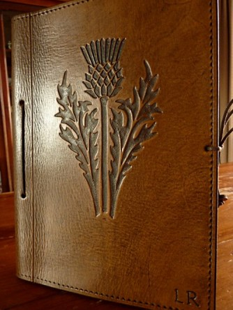 Earthworks Journals Leather Journal with Custom Scottish Thistle Design