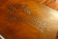 Earthworks Journals A4 Brown Leather Binder with Customer's Own Celtic Cross Design