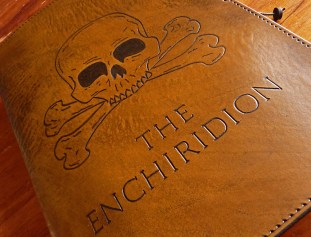 Earthworks Journals A5 Brown Leather Ship's Log with Skull and Cross Bones
