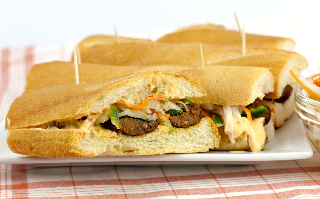 Merguez Sausage Banh Mi with Spicy Mayo & Pickled Vegetables