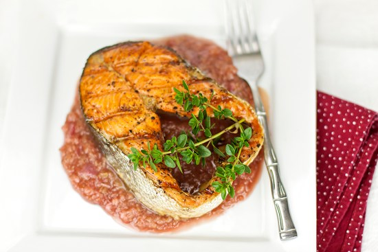 Grilled Salmon with Rhubarb-Hibiscus Sauce