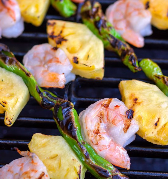 Grilled Shrimp, Shishito & Pineapple Skewers