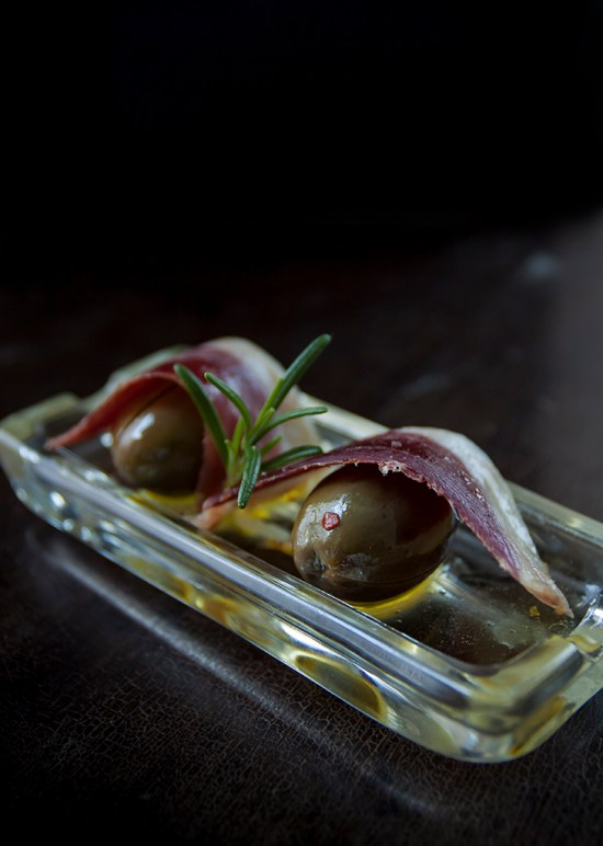Marinated Green Olives with Duck Prosciutto