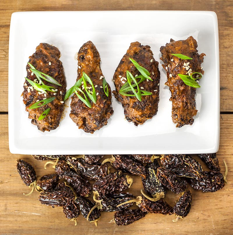 Chipotle Molé Wings with chipotle chiles