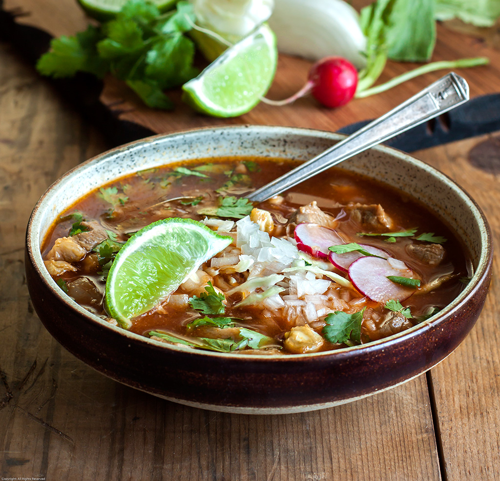 Pozole Rojo (Mexican Pork and Hominy Soup with Chiles)