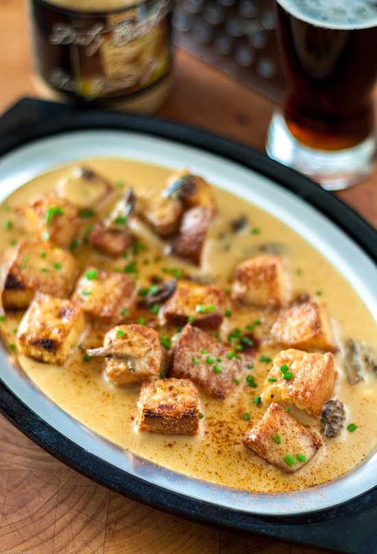 Morel Rarebit over Homemade Cornbread Croutons