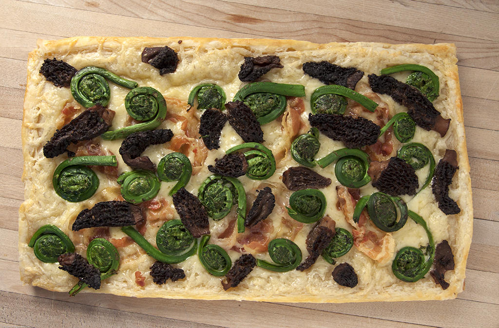 Morel, Fiddlehead & Pancetta Tart, Just Out of the Oven