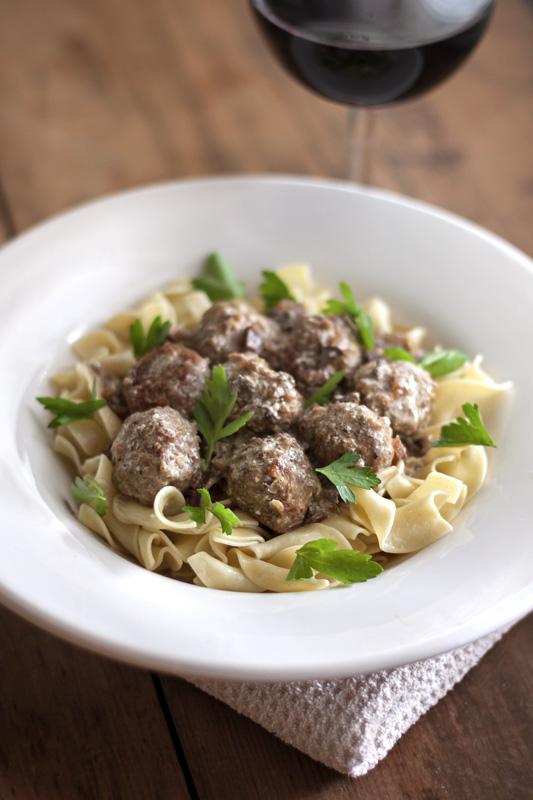 Porcini Stroganoff with Turkey Mini-meatballs