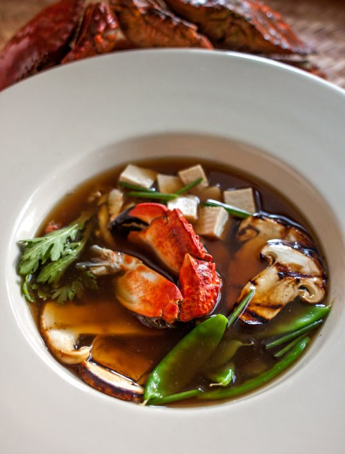 Miso Broth with Crab and Grilled Matsutake Mushrooms