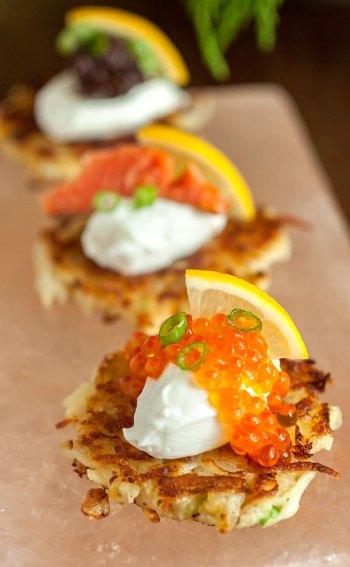 Potato-Apple Pancakes with Caviar, Smoked Salmon and Black Garlic Tapenade Tall
