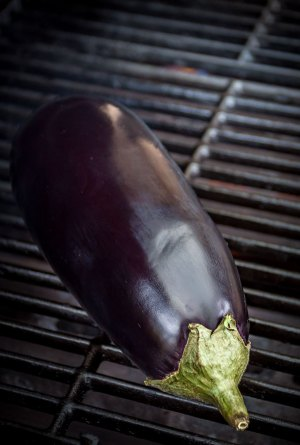 Fire-grilling the eggplant