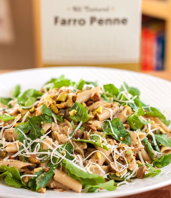 Farro Penne with Porcini, Pistachios and Arugula with Foraged Fare Penne