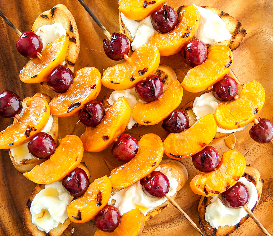 Grilled Sweet Cherry & Apricot Kebabs