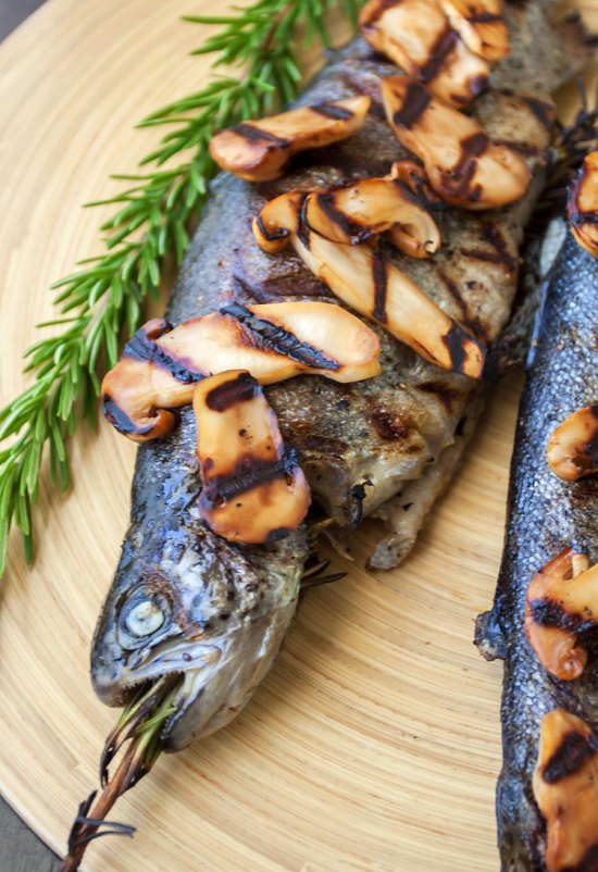 Grilled Trout with Rosemary and Sake-glazed Matsutake Mushrooms