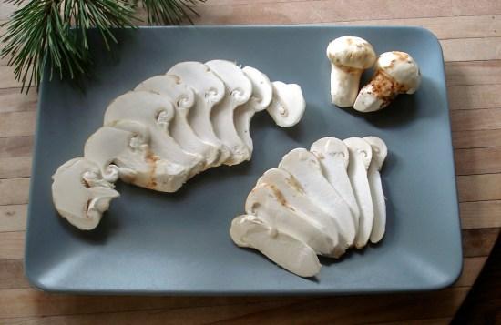 Sliced matsutake mushrooms