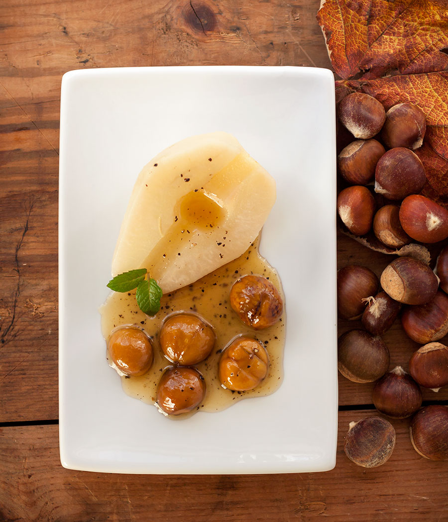 Poached Pears and Chestnuts from Above