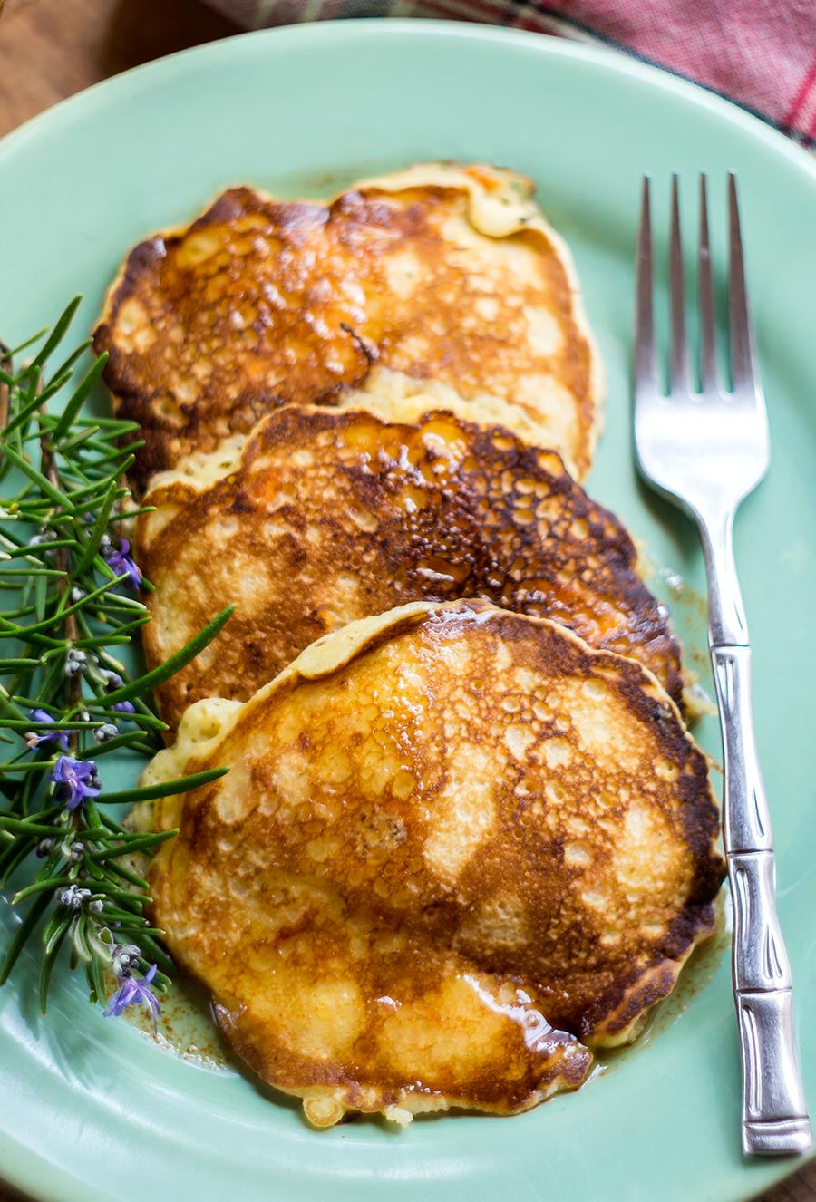 Sweet Potato Cornmeal Pancakes with Spicy Maple Syrup