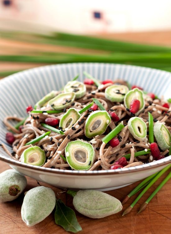 Sesame-Buckwheat Noodles with Fresh Green Almonds