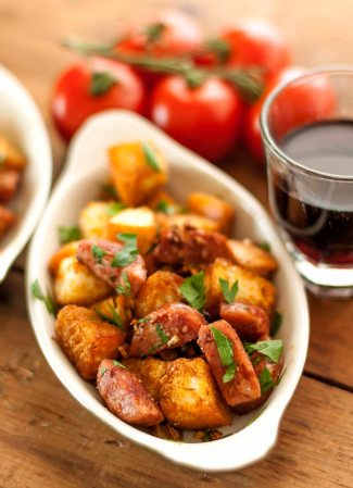 Pan-Fried Bread & Sausage with Garlic, Tapas Style tall