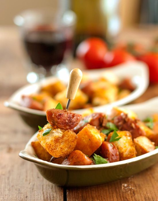 Pan-Fried Bread & Sausage with Garlic, Tapas Style