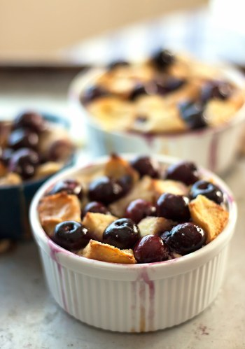 Fresh Cherry Bread Pudding
