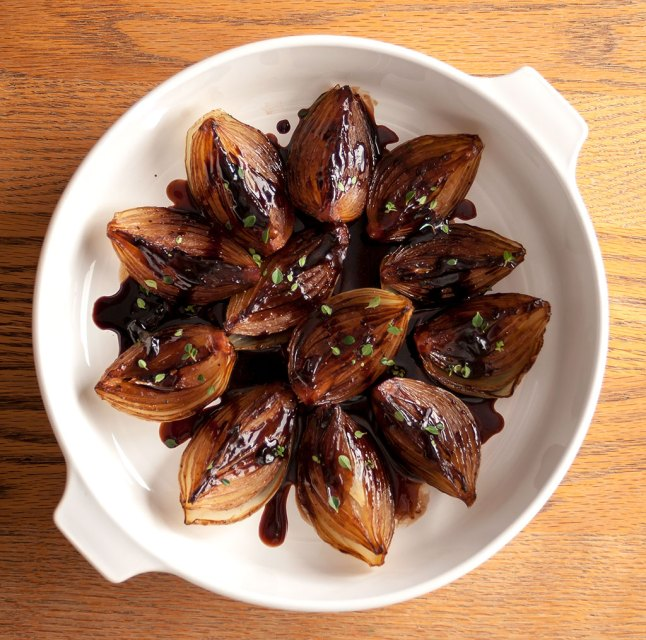 Roasted Onions with Balsamic Cream from above