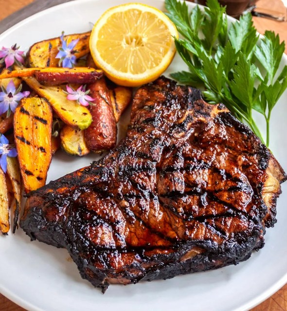 Grilled Balsamic Glazed Steak, Italian Style