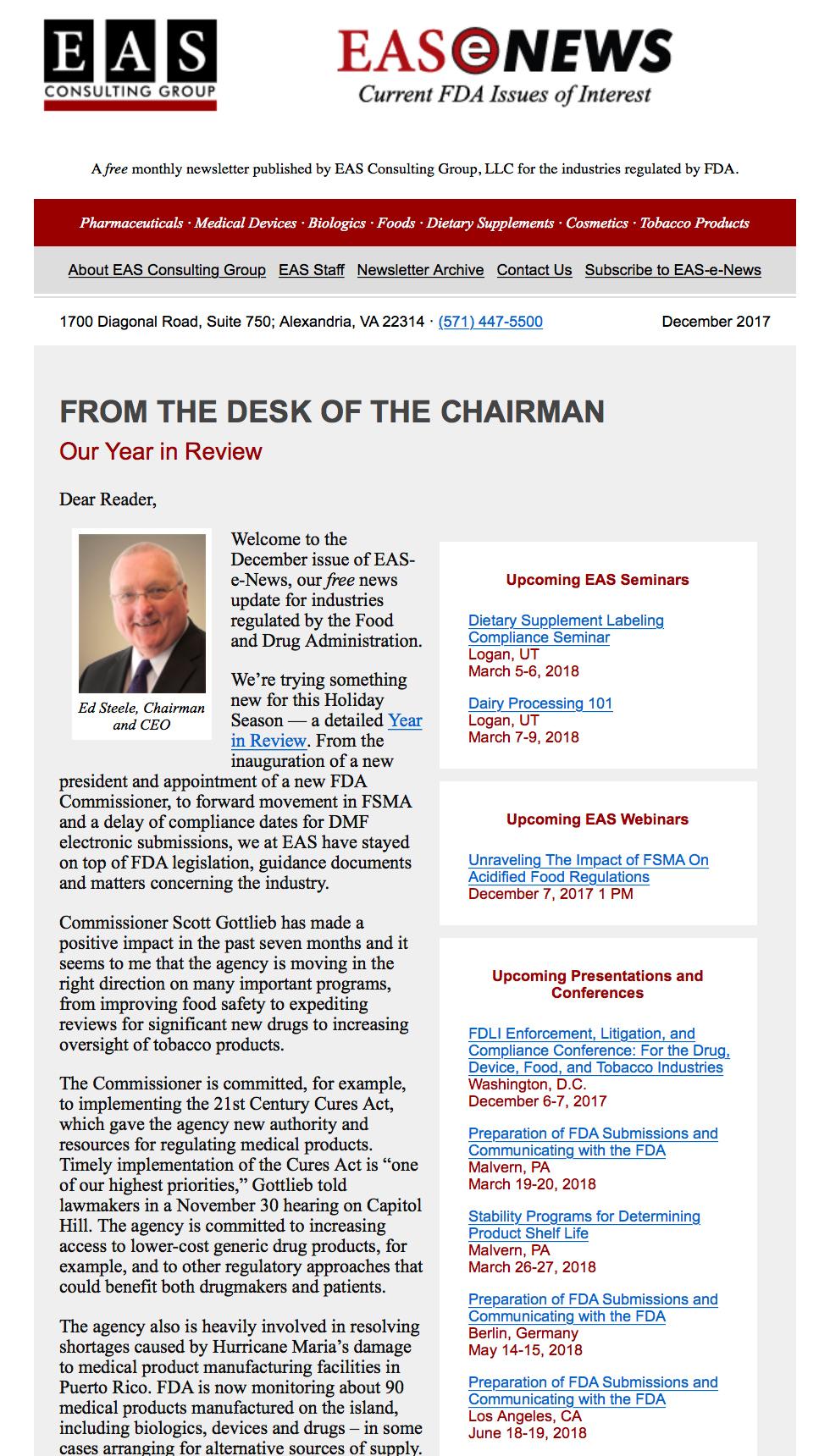 EAS-e-News December 2017