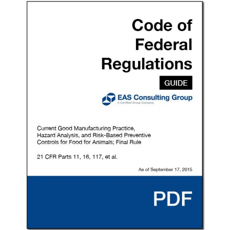 EAS Pocket Guide 21 CFR 11 16 117 FSMA Final Rule for Preventive Controls for Animals Cover