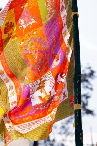 Prayer flags are believed to promote peace, compassion, strength and wisdom