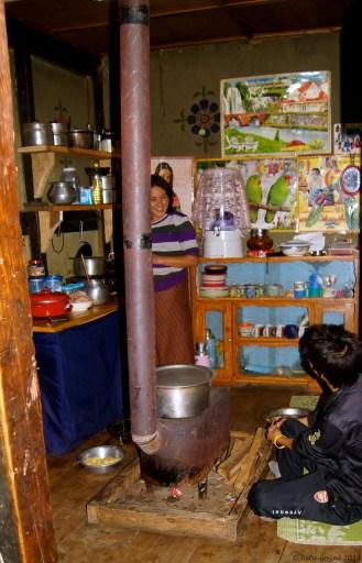 Inside a Bhutanese kitchen at Lobesa, Wangdue