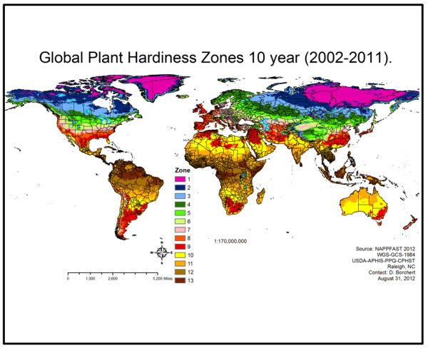 Global Plant Hardiness Zone Map