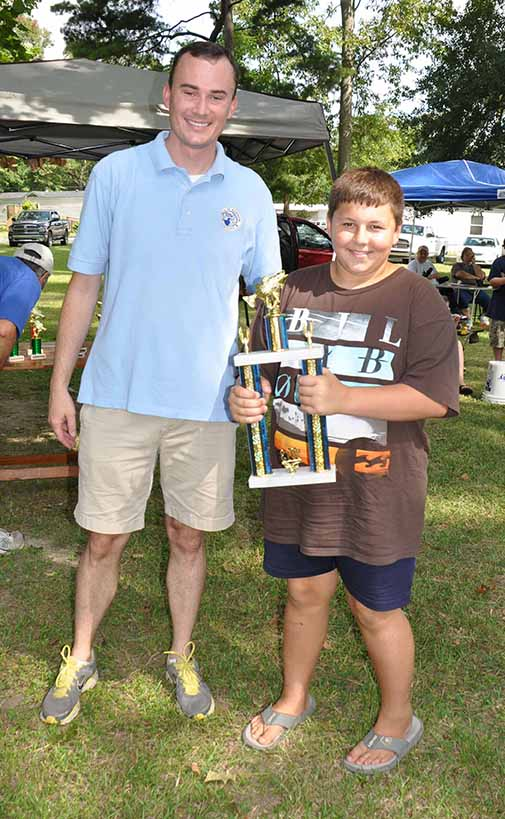 Most Fish Overall boys Grant Bourque pictured with Councilman Chris Loar.  Photo by Teri Henry